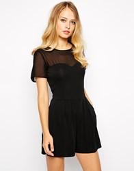 Oasis Sheer Insert Playsuit Black