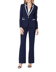 Tahari By Arthur S. Levine Petite Contrast Frame Two Piece Jacket And Pant Suit Navy White