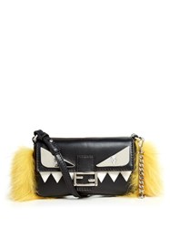 Fendi Micro Baguette Fur Embellished Cross Body Bag Black Yellow