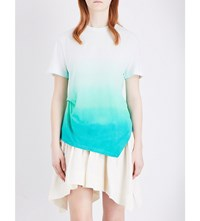 J.W.Anderson Jw Anderson Draped Ombre Cotton Jersey T Shirt Mint