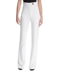 Cushnie Et Ochs High Waist Snap Detail Wide Leg Pants White