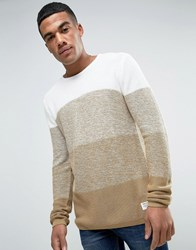 Solid Jumper In Faded Colour Block Beige