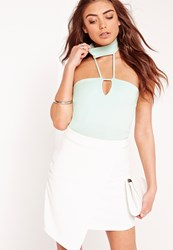 Missguided Choker Neck Bodysuit Mint Green