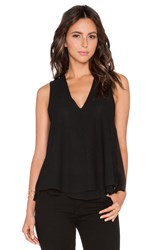 Heather Silk And Lace Double Layer Tank Black