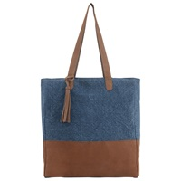 East Leather Jute Bag Indigo