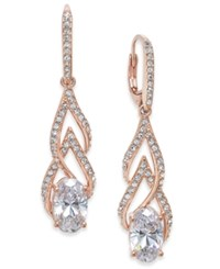 Danori 18K Rose Gold Plated Crystal And Pave Drop Earrings Created For Macy's