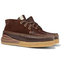 Visvim Canoe Moc Ii Leather And Suede Boots Dark Brown