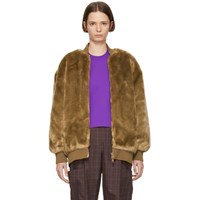 Tibi Brown Faux Fur Luxe Track Jacket