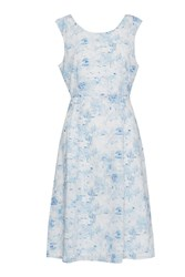 Great Plains Watercolour Haze Open Back Dress Blue