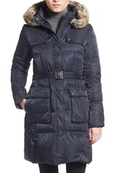 Women's Vince Camuto Belted Faux Fur Trim Down And Feather Fill Coat Navy