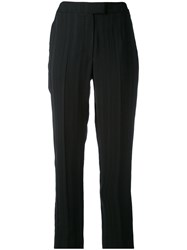 Cacharel Cropped Striped Trousers Women Viscose Cotton 38 Black