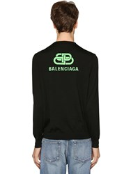 Balenciaga Wool Logo Crewneck Sweater Black
