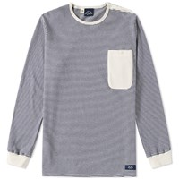 Bleu De Paname Long Sleeve Mariniere Pocket Tee Blue