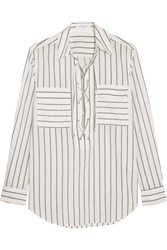 Equipment Knox Lace Up Striped Cotton Shirt Off White