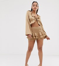 Missguided Petite Exclusive Co Ord Satin Ruffle Shorts In Gold