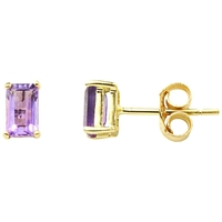 A B Davis 9Ct Gold Amethyst Stud Earrings Purple