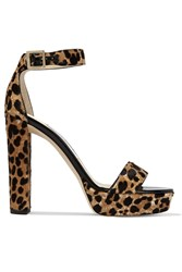 Jimmy Choo Holly Leopard Print Calf Hair Platform Sandals Leopard Print
