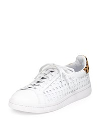 Loeffler Randall Zora Perforated Leather Sneaker White Cheetah