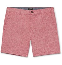 Club Monaco Baxter Stretch Linen And Cotton Blend Chambray Shorts Brick
