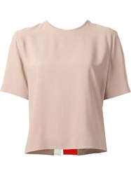 Msgm Striped Back T Shirt Blouse Nude And Neutrals