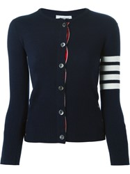 Thom Browne Crewneck Cardigan With White 4 Bar Stripe In Navy Cashmere Cashmere Blue