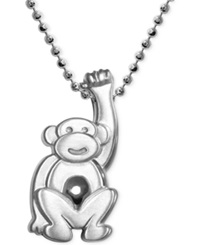 Alex Woo Little Monkey Zodiac Pendant Necklace In Sterling Silver