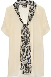 Just Cavalli Neck Tie Chiffon Blouse Ecru