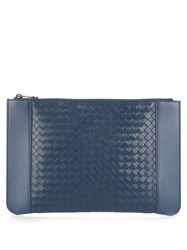 Bottega Veneta Intrecciato Panel Leather Document Holder Blue
