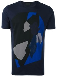 Diesel Black Gold Abstract Print T Shirt Blue