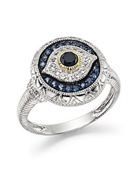 Judith Ripka Evil Eye Ring With White Black And Blue Sapphire Black Silver