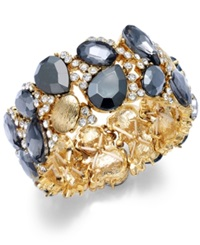 Alfani Gold Tone Gray Stone Stretch Bracelet