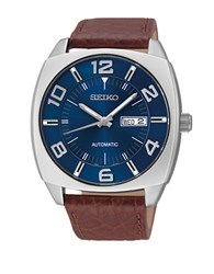 Seiko Recraft Series Leather Strap Stainless Steel Watch Brown