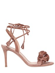 Gianvito Rossi 85Mm Ruffles Lace Up Suede Sandals