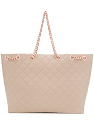 Designinverso Rose Gold Quilted Tote Nude And Neutrals
