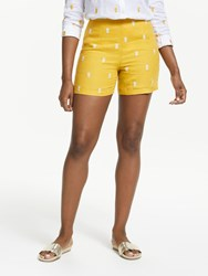 Boden Tropical Embroidered Shorts Dijon Yellow