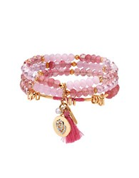 Lonna And Lilly Cubic Zirconia Stretch Bracelets Set Of 3 Pink