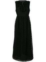 Red Valentino Embroidered Flared Midi Dress Women Cotton Polyamide Polyester Xs Black