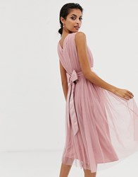 Maya Tulle V Neck Midi Dress Pink