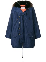 Martine Rose Hooded Button Parka Blue