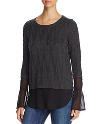 Design History Cable Knit Faux Underlay Sweater Hurrican Pearl Chiffon
