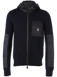 Moncler Grenoble Knitted Patchwork Hoodie Blue