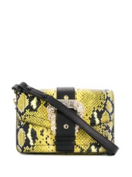Versace Jeans Couture Buckled Snake Print Bag Yellow