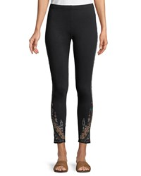 Johnny Was Nala Leggings With Embroidery Plus Size Black