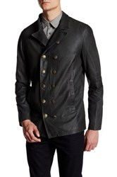 John Varvatos Double Breasted Genuine Leather Jacket Gray