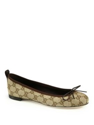 Gucci Ali Canvas And Leather Ballet Flats Cocoa Blue