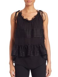 Chloe Sleeveless Silk Ruffle Blouse Black