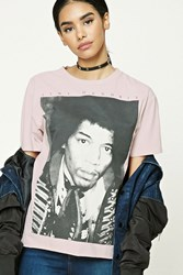 Forever 21 Jimi Hendrix Graphic Tee Pink Black