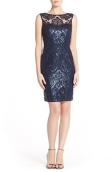 Women's Jenny Yoo 'Harper' Sequin Lace Sleeveless Sheath Dress Navy