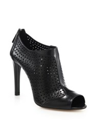 Prada Perforated Leather Open Toe Booties Black