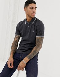 Original Penguin Slim Fit Tipped Pique Polo In Charcoal Grey